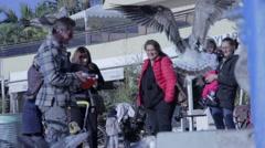 Feeding the birds - AUDIO Stock Footage