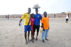 Ghanaians on the beach for the may 1st, labour day holiday Stock Photos