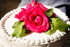 white creamy delicious cake closeup - stock photo