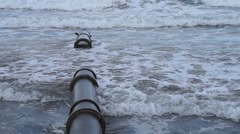 Beach pipe broken Stock Footage