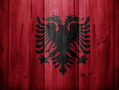Wooden texture with flag Stock Photos