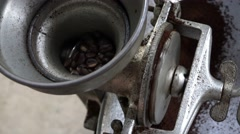 Coffee Grinder, Coffee Beans, Coffee Grounds Stock Footage