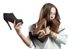 fashion woman adoring her shoes - stock photo