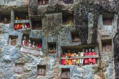 Traditional burial site in tana toraja Stock Photos