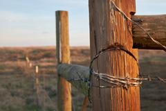 A wood and barbed wire fence in a pasture on a small ranch. Stock Photos