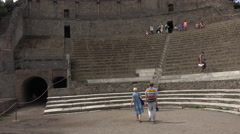 Naples Italy Pompeii ancient Roman Amphitheater tourism 4K 046 Stock Footage