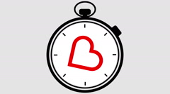 Stopwatch Heart Symbol Pulsing - stock footage