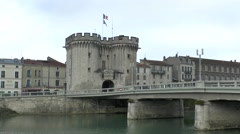 The Porte Chaussée on the River Meuse in Verdun, France. Stock Footage