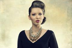aristocratic fashion girl - stock photo