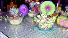Sweets stand on the table Stock Footage