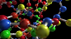 Molecule ball and stick model fly through atoms chemistry biology science tech Stock Footage
