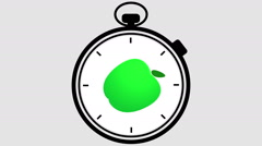 Stopwatch Healthy Apple Symbol - stock footage