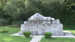 The Wounded Lion of Souville Monument, Douaumont, near Verdun, Meuse, France. Stock Footage