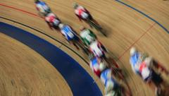Indoor track cycling race Stock Footage