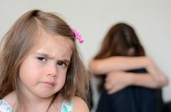 little girl having a temper tantrum - stock photo