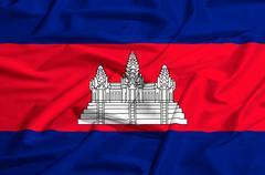 cambodia flag on a silk drape waving - stock illustration