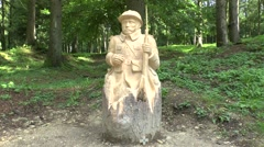 Tree sculpture memorial in the Fleury-devant-Douaumont near Verdun, France. Stock Footage