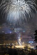 New year fireworks in brasov, romania Stock Photos