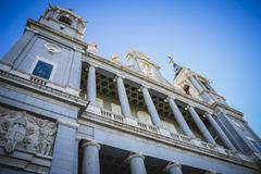 Main facade, almudena cathedral, located in the area of the habsburgs Stock Photos