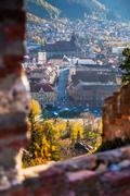 "Stock Photo of brasov old city view from fortress ""cetatuia"" on a sunny autumn day"