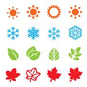 season icon set - stock illustration