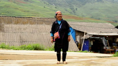Local Indigenous Hmong Village Women - Small Town Sapa Region Vietnam - stock footage