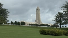 The Douaumont Ossuary and National Cemetery, Douaumont near Verdun, France. Stock Footage