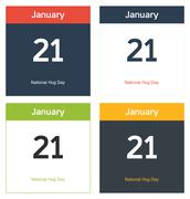 4 isolated calendar sheets for national hug day - stock illustration