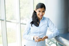 Closeup portrait, joyful gorgeous woman using mobile smartphone device, isola Kuvituskuvat