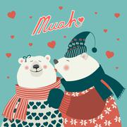 Couple of kissing bears Stock Illustration