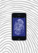 smartphone with security fingerprint - stock illustration