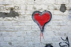 red valentine heart grafitti - stock photo