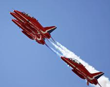 red arrows jets flying in formation - stock photo
