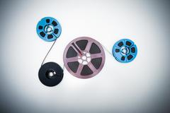 8mm different reels connected with film - stock photo