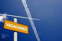 spanish holiday signpost - stock photo