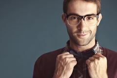 portrait of an old-fashioned attractive male with bow tie - stock photo