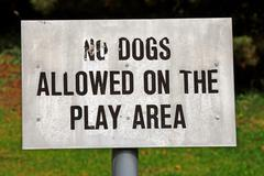 no dogs allowed signpost - stock photo