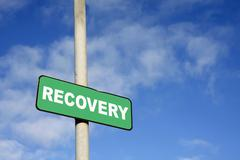 green recovery signpost - stock photo