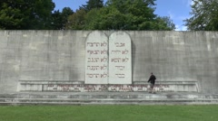 The Wall of the Israelites memorial, Douaumont, near Verdun, Meuse, France. Stock Footage