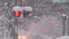 Heavy snow storm in city Stock Footage