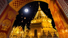 Wat Phra That Doi Suthep Temple And Sky Fire Lantern On Full Moon Background Stock Footage