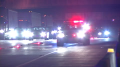 Chp patrol car arrives at freeway scene Stock Footage
