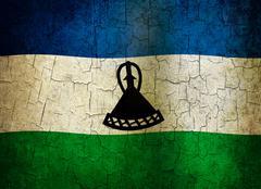 grunge lesotho flag - stock illustration