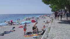 Primosten pebble beach Stock Footage