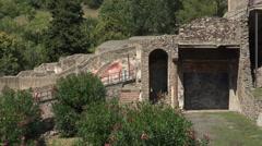 Naples Italy Pompeii ancient Roman city walls garden 4K 065 Stock Footage