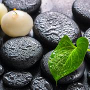 spa concept of green leaf calla lily and candles on zen basalt stones with dr - stock photo