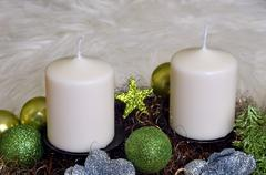 advent wreath with white candles - stock photo