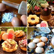 Collage of christmas sweets, baking supplies Stock Photos