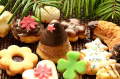 Christmas sweets, cookies and decoration Stock Photos