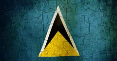 grunge saint lucia flag - stock illustration